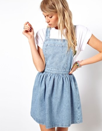 asos cross back denim pinafore dress