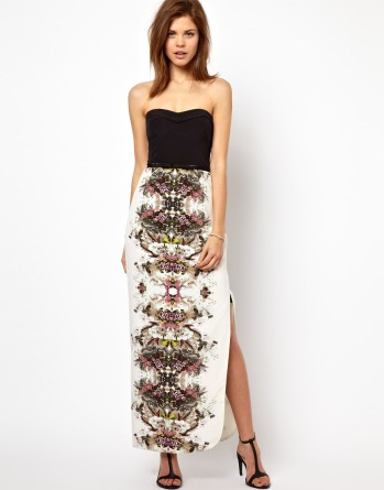 asos karen millen maxi dress floral and black