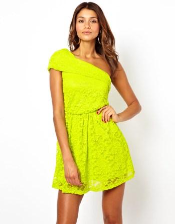 asos lace one shoulder dress