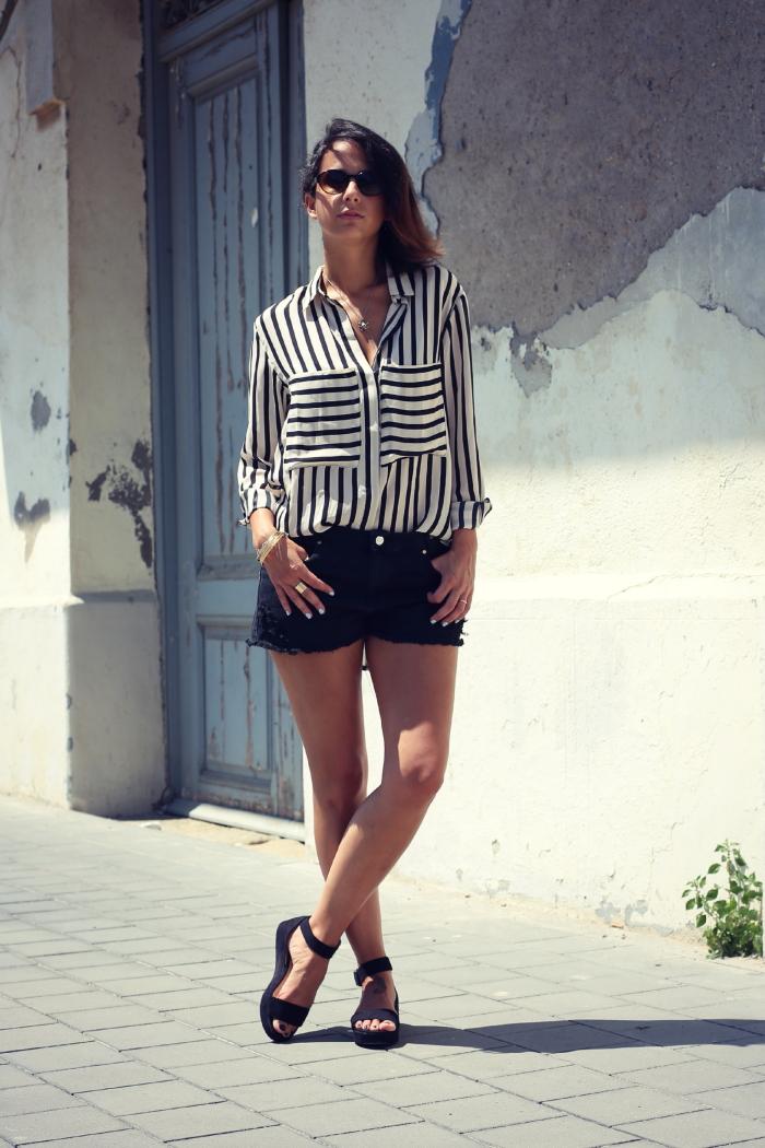 denim shorts stripe blouse oasap