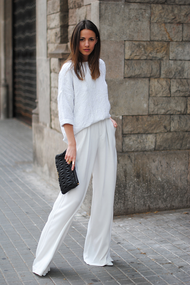 white total look, pants, zara, high waisted