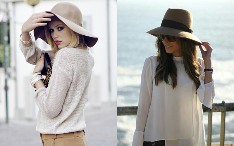 beige brown hat fall look